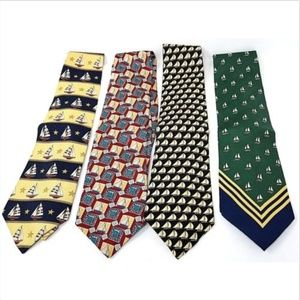 Lot of 4 mens ties sailboats various brands